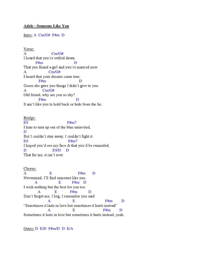 Adele   Someone Like You Chords   PDF
