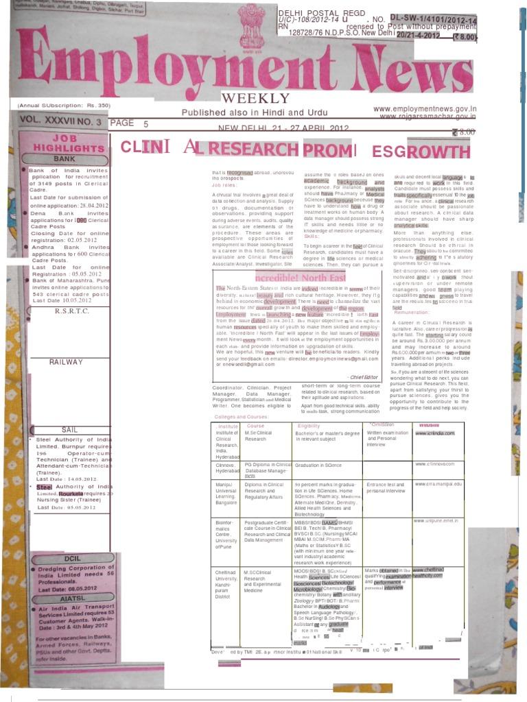 Employment news epaper rojgar samachar employment news epaper rojgar samachar new delhi edition 21 27 april 2012 vol xxxvii no 3 wellness fandeluxe Images