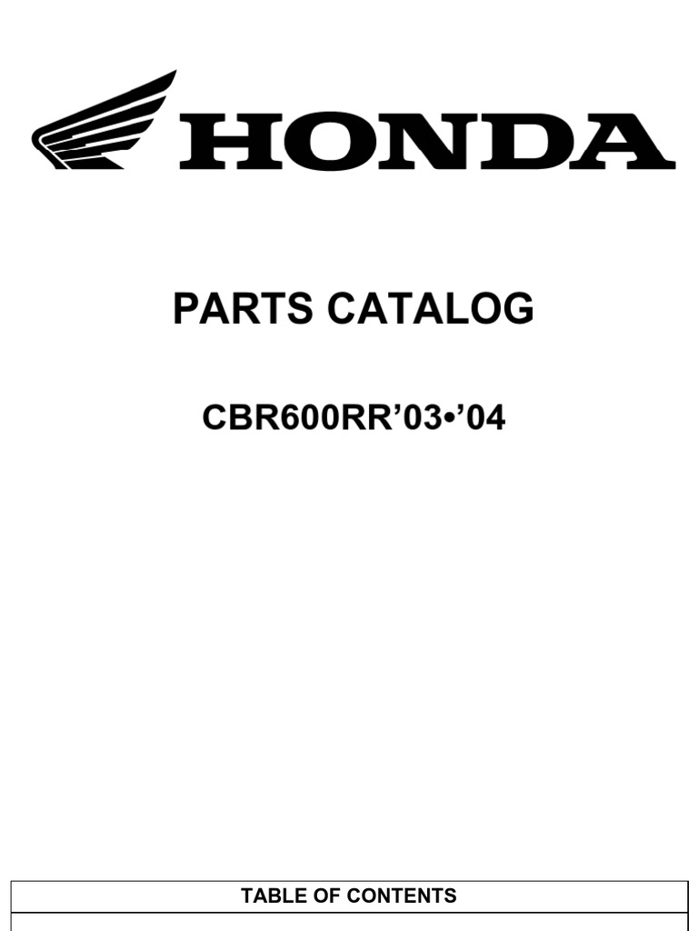 Honda CBR600 RR CBR 600 Parts List Diagram Manual