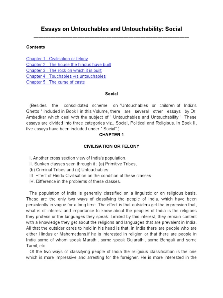 Essay On Photosynthesis Essays On Untouchables And Untouchability  Dr Brambedkar  Dalit   Religion And Belief Science Essay also Examples Of English Essays Essays On Untouchables And Untouchability  Dr Brambedkar  Persuasive Essay Topics For High School Students