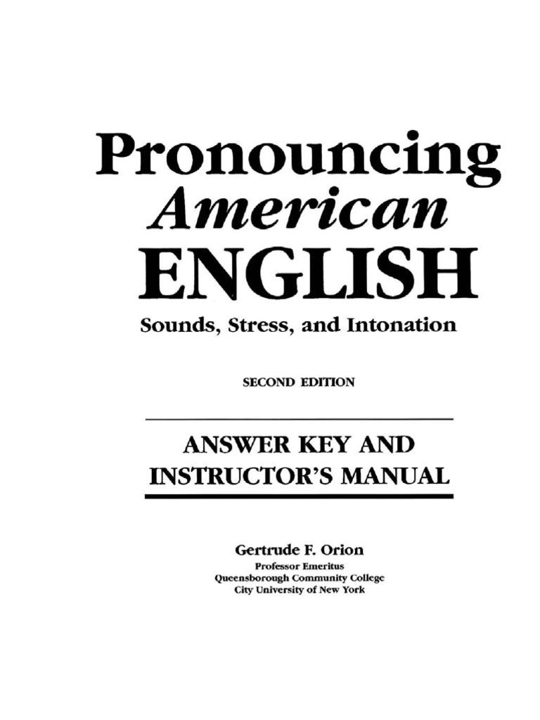 Pronouncing American English Answer Key