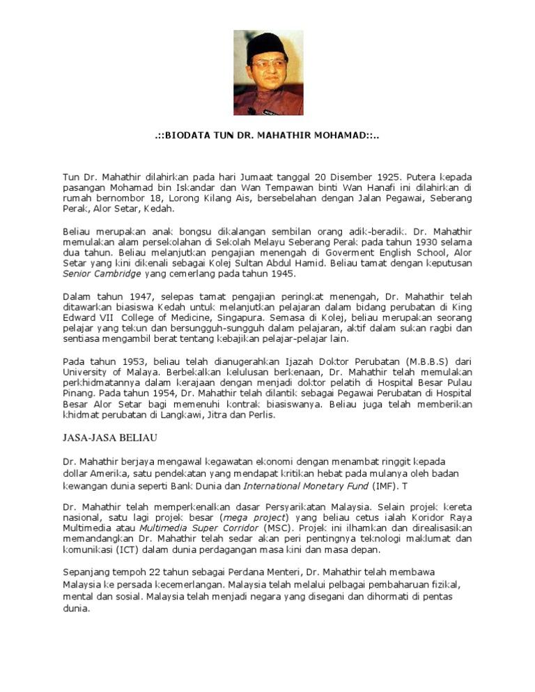 Biodata Tun Dr Mahathir Mohamad Jasa Jasa Beliau