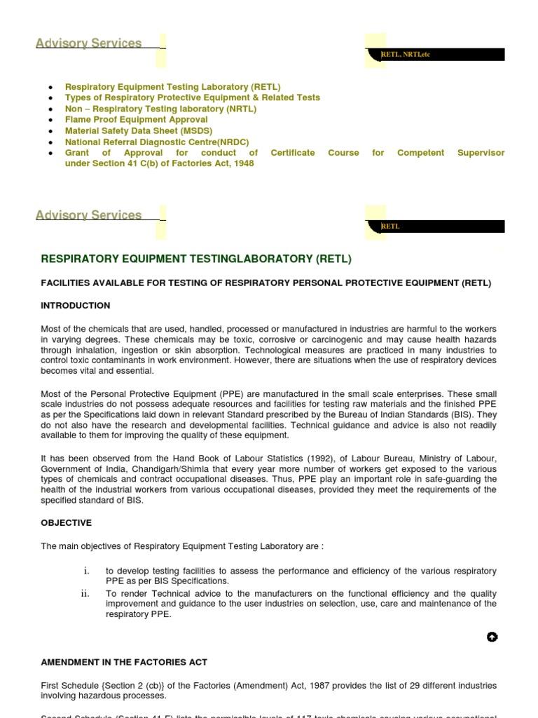 Ppe Tests Dgsfli | Personal Protective Equipment | Química