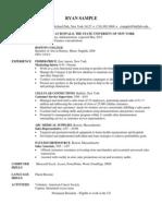MBA Resume Sample 1