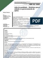 NBR - Iso 10006 - Gestao Da Qualidade - Diretrizes Para a Qualidade No Gerenciamento de Projetos