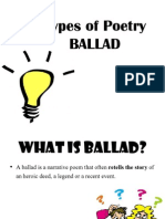 TYPES OF POETRY- BALLADS