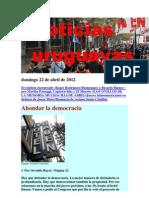 Noticias Uruguayas Domingo 22 de Abril de 2012