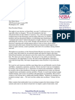 NSBA Presidents Letter to Obama Asking for a National Dialogue on Public Educations Direction
