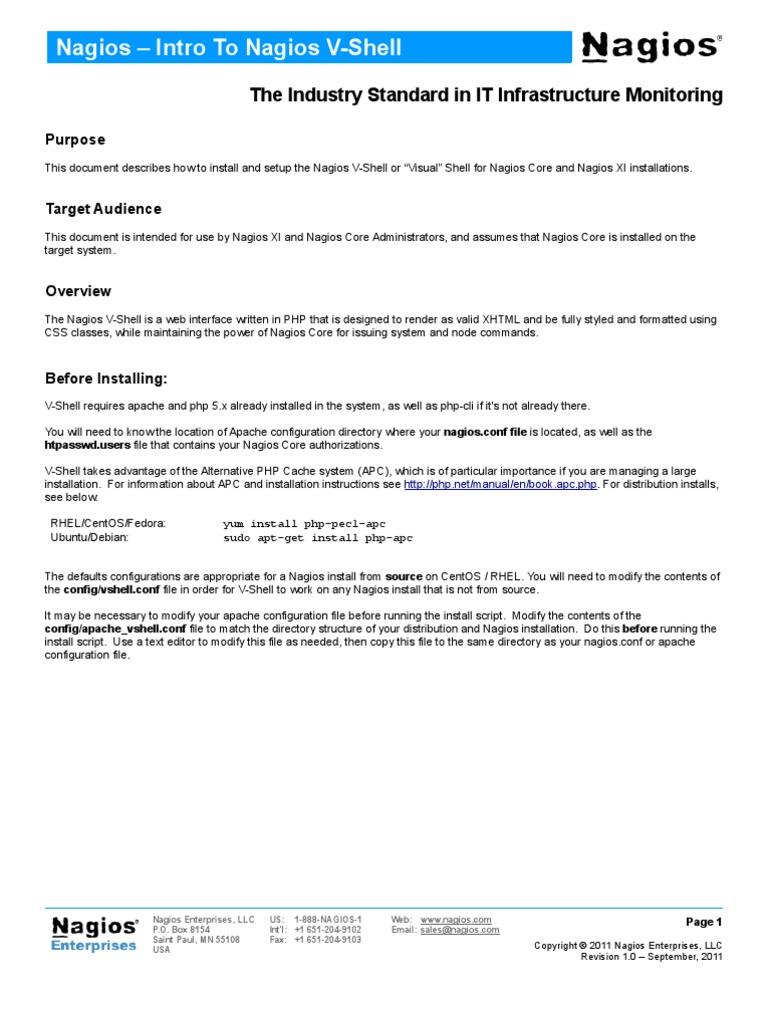 Intro to Nagios Vshell | Php | Apache Http Server