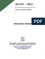 AP PGECET PG Courses Admission Notification 2012