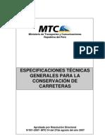 ESPECIFICACIONES TÉCNICAS GENERALES PARA LA CONSERVACIÓN DE CARRETERAS