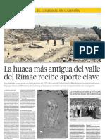 EL COMERCIO | La huaca más antigua del valle del Rímac recibe aporte clave