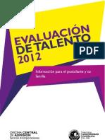 MANUAL PARA POSTULANTE Evaluación del Talento  2012