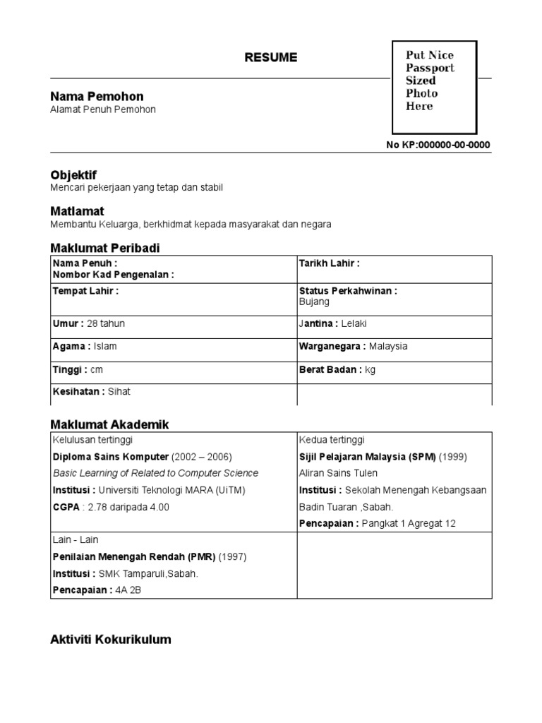 Contoh Resume Versi English Contoh U
