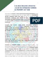 Lupa Para Sa Mga Walang Lupain Na Nakuha Sa Ilalim Ng Sistemang Torrens Real Property Act 1858