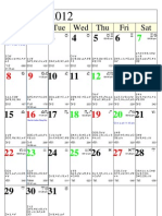 Calendar 2012 Monthly