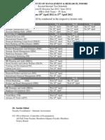 Second Test Schedule IV, VI & X Sem