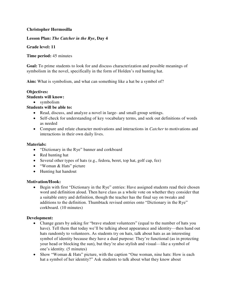 Hermosilla Lesson Plan Catcher Definition Dictionary