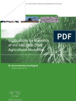 Implications for Mauritius of the July 2008 Draft Agricultural Modalities