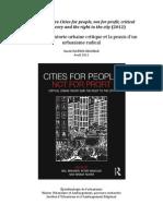 Cities for people not for profit, 2012, notes sur la théorie urbaine critique et sur la praxis d´un urbanisme radical