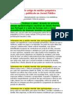 Transcrição do artigo do médico psiquiatra Pedro Afonso