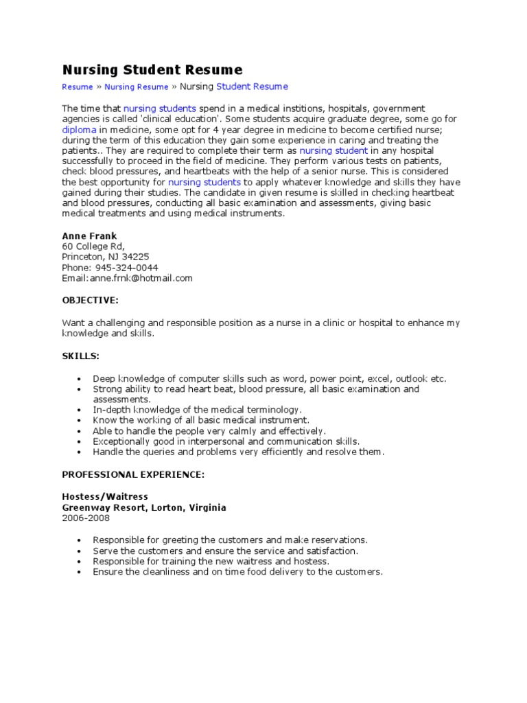 Nursing Student Resume Nursing Patient