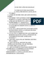CUESTIONARIO DE CIEN AÑOS DE SOLEDAD
