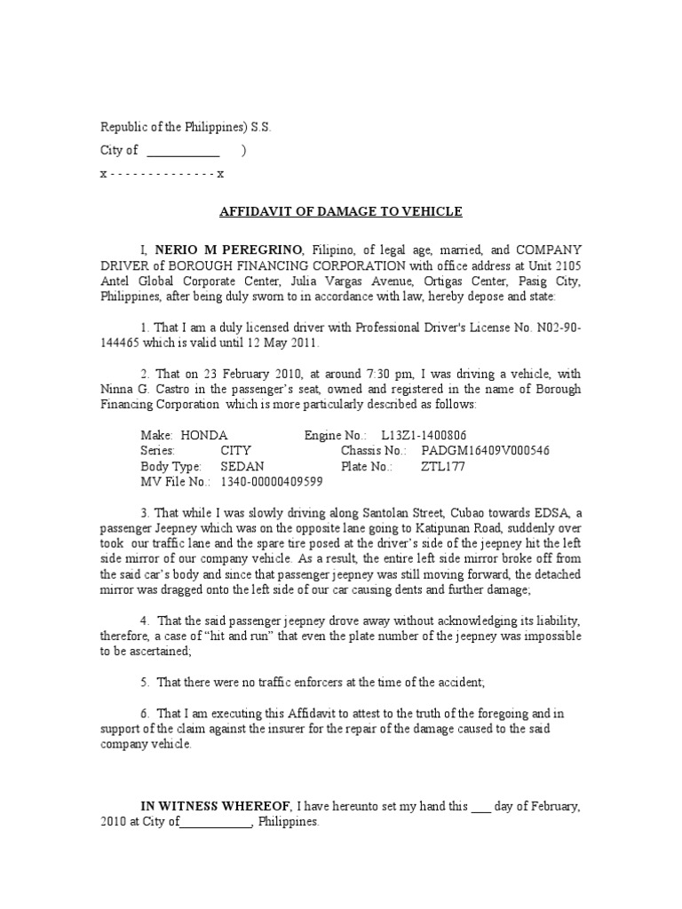 Affidavit Of Damage To Vehicle