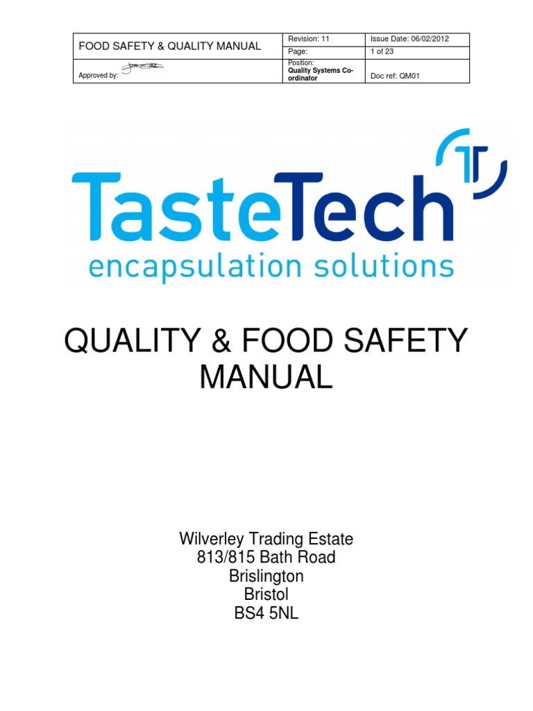 QM01 Quality & Food Safety Manual Iss 11 BRC Issue 6 | Iso 9000 | Quality  Management System