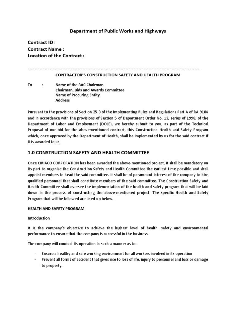 safety and health program for construction