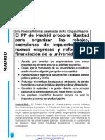 El PP de Madrid propone libertad para organizar las rebajas, exenciones de impuestos para nuevas empresas y reformar la financiación de la universidad
