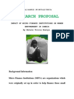 RESEARCH PROPOSAL SAMPLE on Women Empowerment and Micro Finance