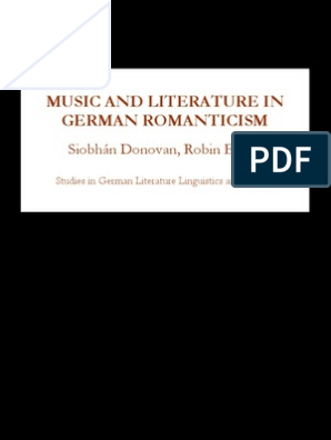 Siobhan Donovan Music And Literature In German Romanticism