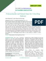 Polysaccharides and Natural Gums for Colon Drug