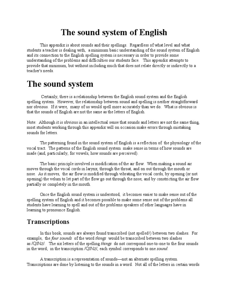 The Sound System Of English Vowel Consonant