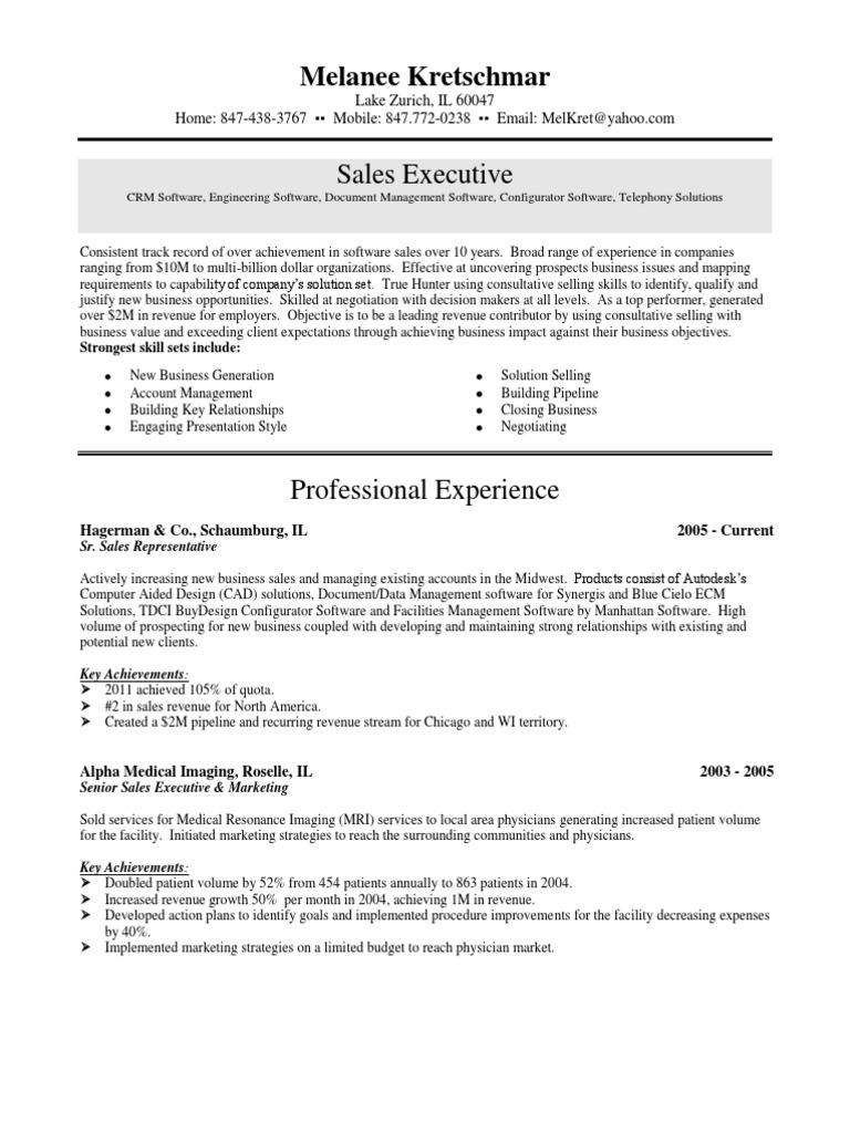 senior software sales executive in chicago il resume