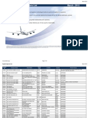 Airbus Supplier Approval List March 2012 | Aviation | Aerospace