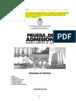 Examen Admision UNAL 2010 2 Pregrado