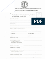 Form of Application For Enrollment of Wakf State