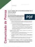 8 Motivos Inconstitucionalidad Reforma Laboral