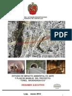 """Resumen Ejecutivo delEstudio de lmpacto L Ambiental Ex - Ante y Plan de Manejo Ambiental del proyecto """"TUNEL SHUSHUHUAYCO'"""""""