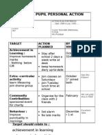 Individual Pupil Personal Action Plan