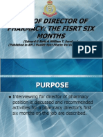 Role of the Director of Pharmacy- The First Six Months