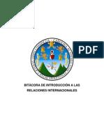 BITÁCORA DE INTRODUCCIÓN A LAS RELACIONES INTERNACIONALES