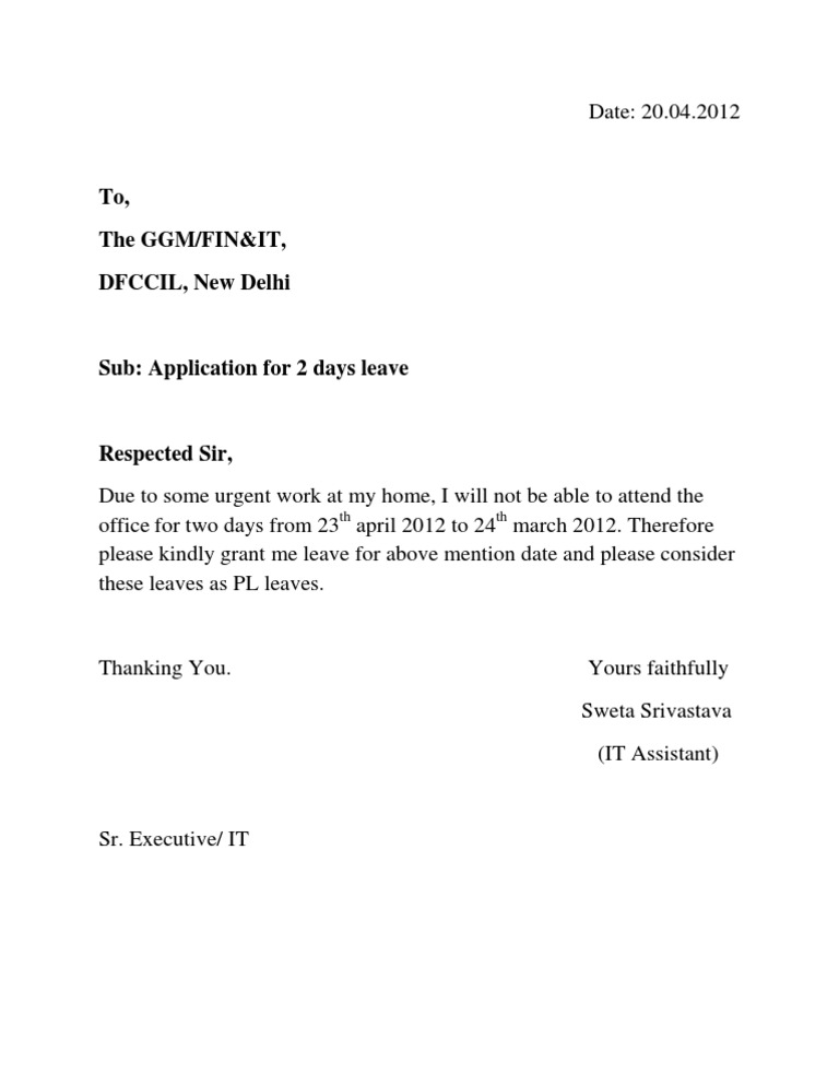 Doc484484 Application for Leave Format for Leave Extension – Official Leave Application Format