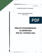 C 2-4.8 Règles Parasismiques Algériennes RPA 99-version 2003, Scanné