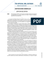 Real decreto De 20 de Abril, sobre  Medidas Urgentes Para Garantizar La Sostenibilidad Del Sistema Nacional de Salud