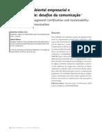 Certificação ambiental empresarial e sustentabilidadedesafios da comunicação