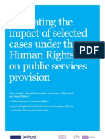 Evaluating the Impact of Selected Cases Under the Human Rights Act on Public Services Provision