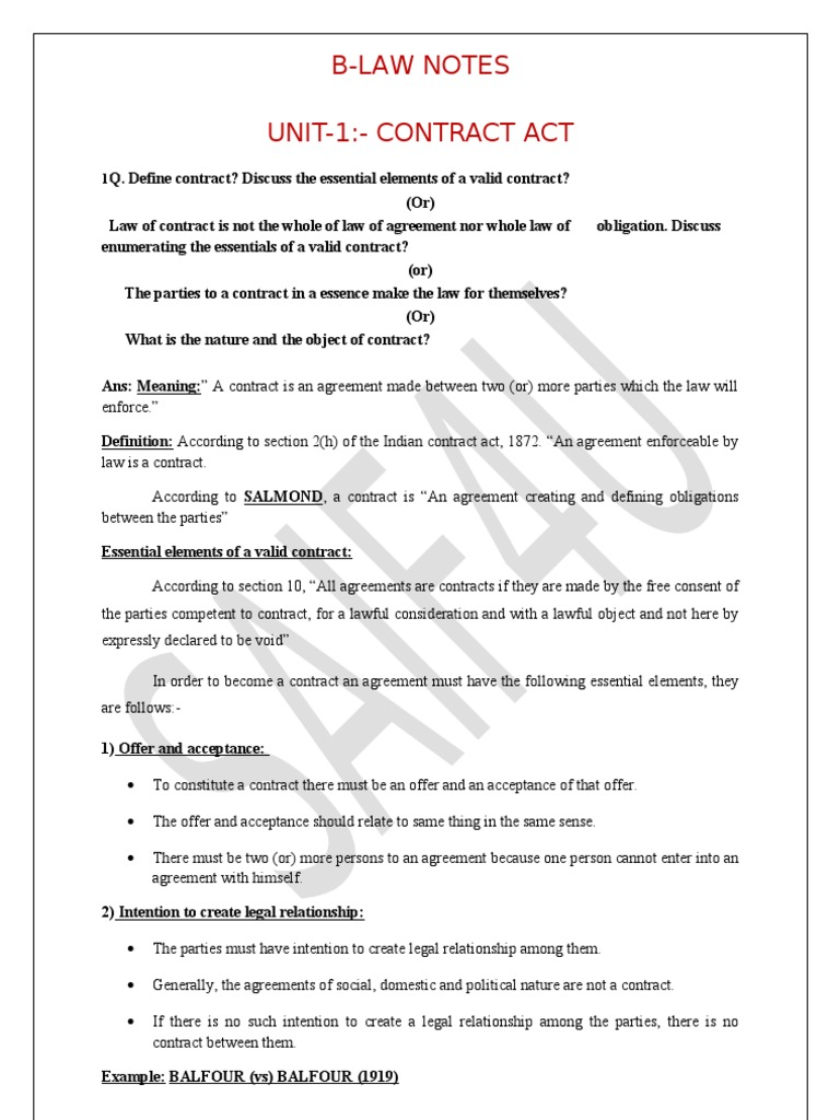 Business law notes offer and acceptance consideration stopboris Choice Image